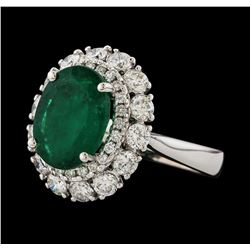 3.53 ctw Emerald and Diamond Ring - 14KT White Gold