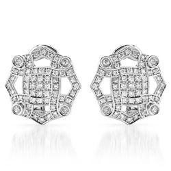 14k White Gold 0.71CTW Diamond Earrings, (SI2-SI3/G-H)