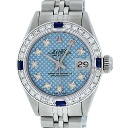 Rolex Ladies Stainless Steel Blue Stamp Diamond & Ruby Datejust Wristwatch
