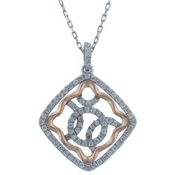 14k White/rose Gold 0.44CTW Diamond Pendant, (SI3/G)