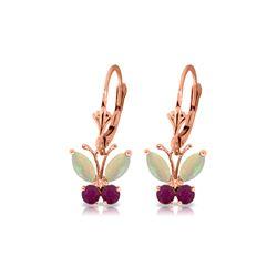 Genuine 1.39 ctw Opal & Ruby Earrings 14KT Rose Gold - REF-41P4H