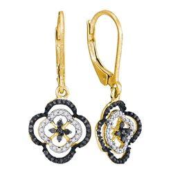 Round Black Color Enhanced Diamond Quatrefoil Leverback Dangle Earrings 1/3 Cttw 10kt Yellow Gold