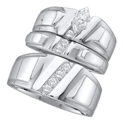 Marquise Diamond Solitaire Mens Matching Trio Wedding Bridal Set 1/4 Cttw 10k White Gold