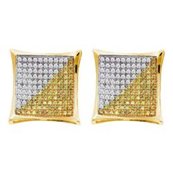 Mens Round Color Enhanced Diamond Square Kite Cluster Earrings 1/6 Cttw 10kt Yellow Gold