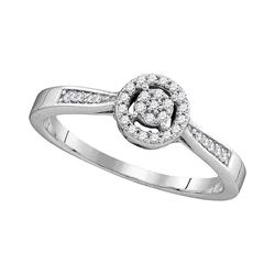 Diamond Cluster Bridal Wedding Engagement Ring 1/8 Cttw 10kt White Gold
