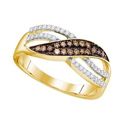 Round Brown Diamond Band Ring 1/3 Cttw 10kt Yellow Gold