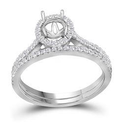 Diamond Slender Bridal Wedding Engagement Ring Band Set 7/8 Cttw 14k White Gold