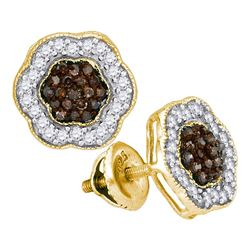 Round Brown Diamond Polygon Cluster Earrings 1/2 Cttw 10kt Yellow Gold