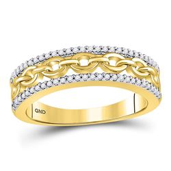 Diamond Chain Link Fashion Band Ring 1/6 Cttw 10kt Yellow Gold