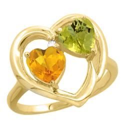2.61 CTW Diamond, Citrine & Lemon Quartz Ring 10K Yellow Gold - REF-23W5F
