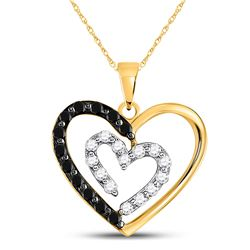 Round Black Color Enhanced Diamond Heart Pendant 1/2 Cttw 14kt Yellow Gold
