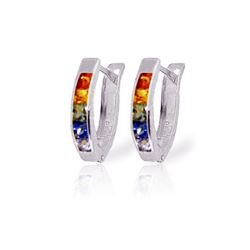 Genuine 1.30 ctw Multi-Color Sapphire Earrings 14KT White Gold - REF-30K9V