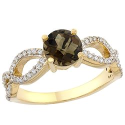 1.25 CTW Quartz & Diamond Ring 10K Yellow Gold - REF-49M8K