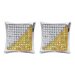 Mens Round Yellow Color Enhanced Diamond Square Kite Cluster Earrings 1/6 Cttw 10kt White Gold