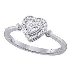 Diamond Heart Frame Cluster Ring 1/10 Cttw 10kt White Gold