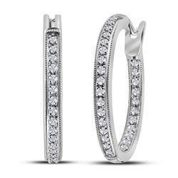 Diamond Single Row Inside Outside Hoop Earrings 1/2 Cttw 14kt White Gold