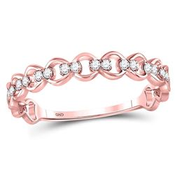 Diamond Link Stackable Band Ring 1/8 Cttw 10kt Rose Gold