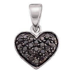 Round Black Color Enhanced Diamond Heart Pendant 1/4 Cttw 10kt White Gold