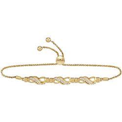 Diamond Crossover Bolo Bracelet 1/6 Cttw 10kt Yellow Gold