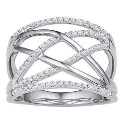 Diamond Crisscross Crossover Band Ring 1/3 Cttw 10kt White Gold