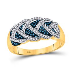 Round Blue Color Enhanced Diamond Braid Band Ring 3/8 Cttw 10kt Yellow Gold