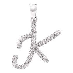Diamond Letter K Pendant 1/6 Cttw 10kt White Gold