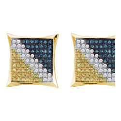 Mens Round Blue Color Enhanced Diamond Square Kite Earrings 1/20 Cttw 10kt Yellow Gold