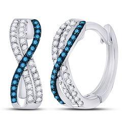 Blue Color Enhanced Diamond Hinged Hoop Earrings 1/4 Cttw 10kt White Gold