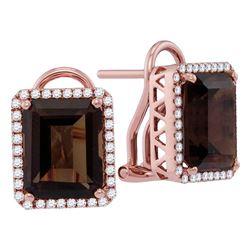 Emerald-shape Smoky Quartz Diamond Stud Earrings 6-7/8 Cttw 14kt Rose Gold