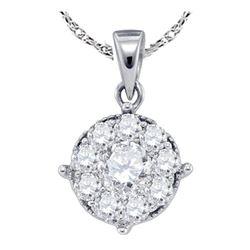 Diamond Cluster Pendant 1/4 Cttw 14kt White Gold
