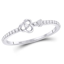 Diamond Stackable Key Ring 1/8 Cttw 10kt White Gold