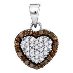 Round Brown Diamond Heart Frame Pendant 1/3 Cttw 10kt White Gold