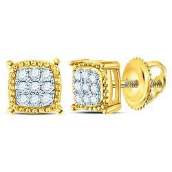 Mens Diamond Square Milgrain Cluster Earrings 1/10 Cttw 10kt Yellow Gold