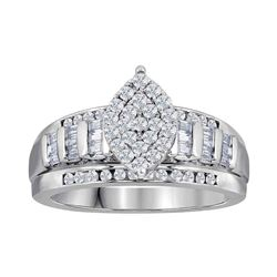 Diamond Oval Cluster Bridal Wedding Engagement Ring 2.00 Cttw 10kt White Gold