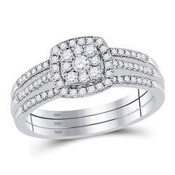Diamond 3-Piece Cluster Bridal Wedding Engagement Ring Band Set 1/2 Cttw 10kt White Gold