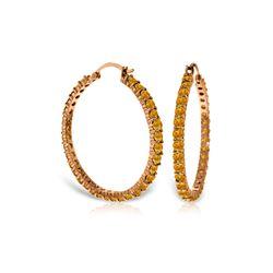 Genuine 6 ctw Citrine Earrings 14KT Rose Gold - REF-104X8M