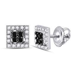 Round Black Color Enhanced Diamond Square Cluster Screwback Earrings 1/3 Cttw 10kt White Gold
