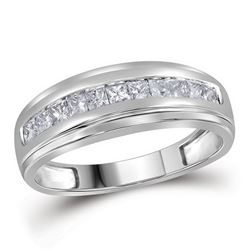 Mens Diamond Single Row Wedding Band Ring 1/2 Cttw 10kt White Gold