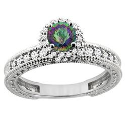 0.91 CTW Mystic Topaz & Diamond Ring 14K White Gold - REF-65H9M