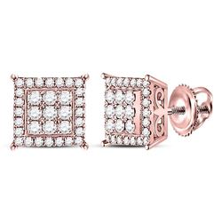 Diamond Square Cluster Earrings 1/2 Cttw 14kt Rose Gold