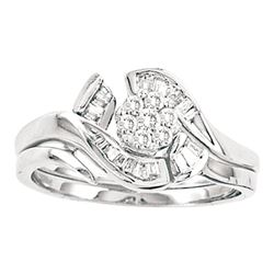 Diamond Cluster Bridal Wedding Engagement Ring Band Set 1/3 Cttw 14kt White Gold