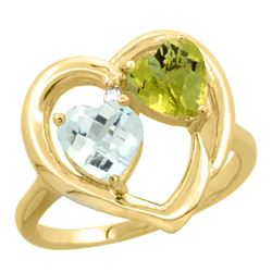 2.61 CTW Diamond, Aquamarine & Lemon Quartz Ring 14K Yellow Gold - REF-37R7H