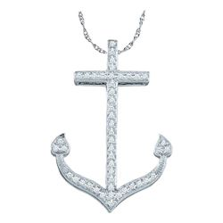 Diamond Anchor Nautical Ocean Pendant 1/6 Cttw 10kt White Gold