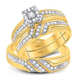 His & Hers Diamond Solitaire Matching Bridal Wedding Ring Band Set 1/3 Cttw 10kt Yellow Gold