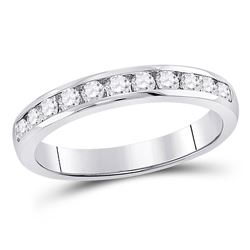 Diamond Single Row Channel-set Wedding Band 1/2 Cttw 14kt White Gold