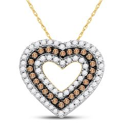 Round Brown Diamond Heart Outline Pendant 3/4 Cttw 14kt Yellow Gold