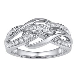 Diamond Woven Knot Strand Band 1/4 Cttw 10kt White Gold