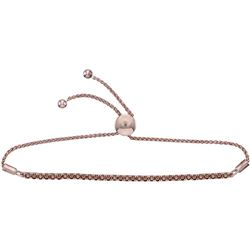 Round Natural Brown Diamond Bolo Bracelet 2.00 Cttw 10kt Rose Gold