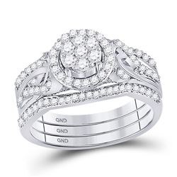 Diamond Bridal Wedding Engagement Ring Band Set 1/2 Cttw 10kt White Gold