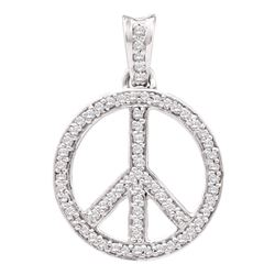 Diamond Peace Sign Circle Pendant 1/4 Cttw 10kt Yellow Gold